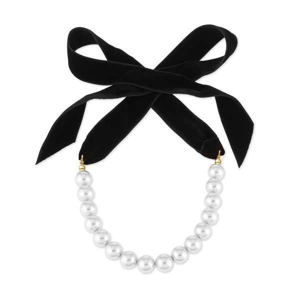 Velvet Bow Knot Pearl Long Necklace - Damnbling