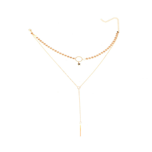 Petite Star Pendent Long Layering Necklace - Damnbling