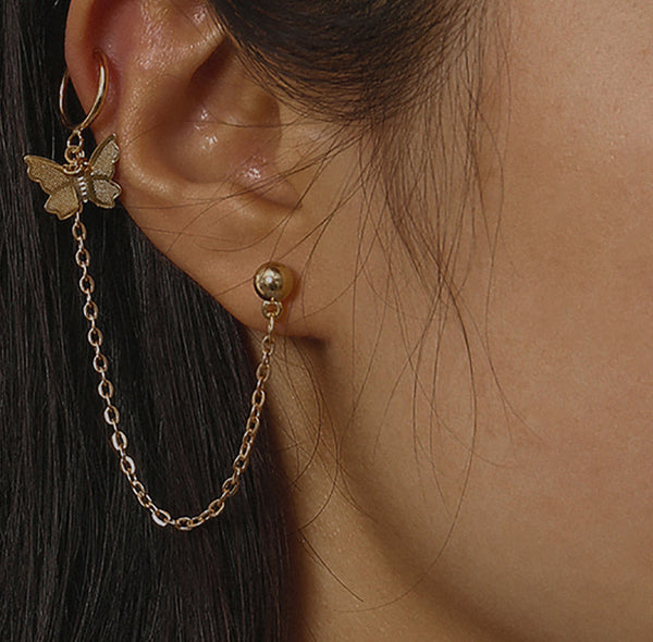 Petite Gold Butterfly Chain Earrings - Damnbling