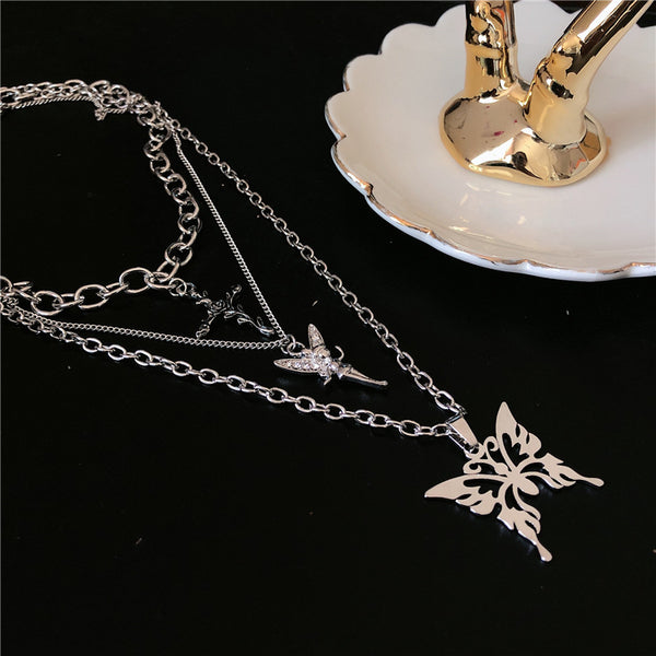 Silver Cross Butterfly Layering Necklace - Damnbling