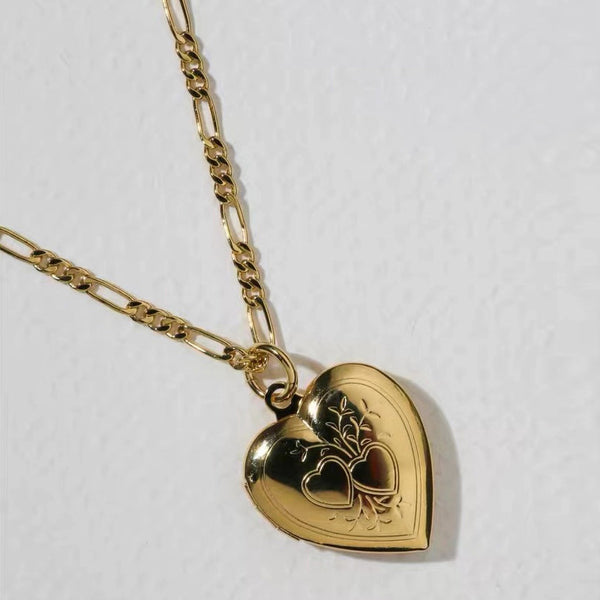 Openable Vintage Gold Heart Case Necklace - Damnbling