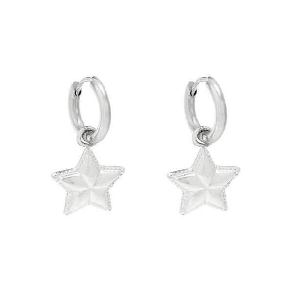 Pentagram Gold Star Petite Drop Earrings - Damnbling