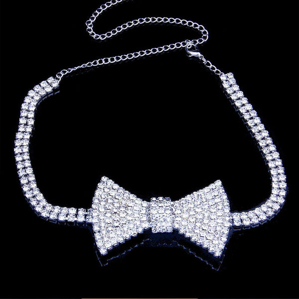 Diamond Bow Tie Choker Necklace - Damnbling