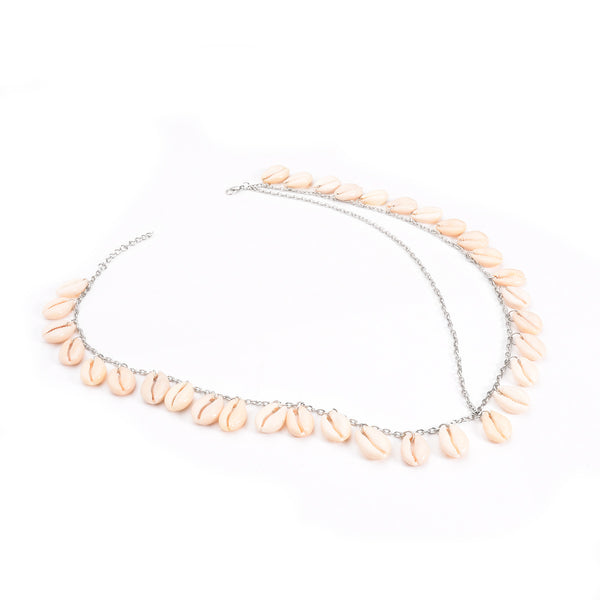 White Sea Shell Chain Headband - Damnbling