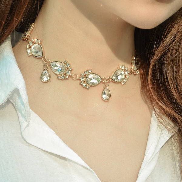 Tear Drop Diamond Short Necklace - Damnbling