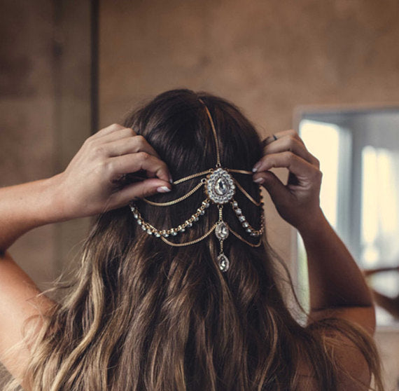 Diamond Drop Smooth Chain Headband - Damnbling