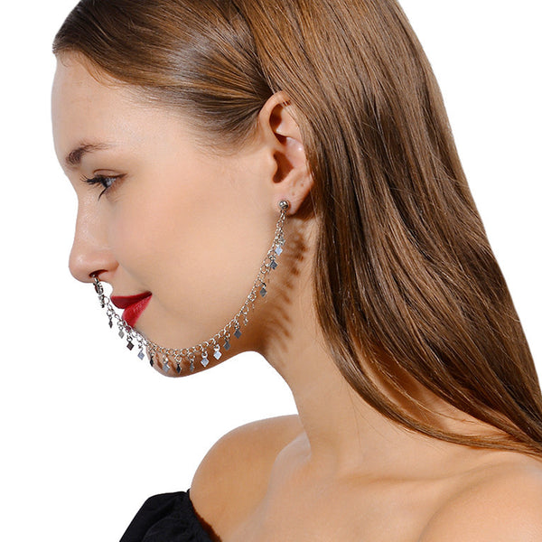 Tassel Ear to Nose Chain - Damnbling