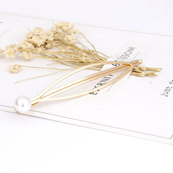 Pearl Hollow Leaf Hair Pin Set - Damnbling