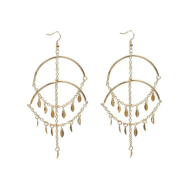 Tassel Chain Double Hoop Earrings - Damnbling