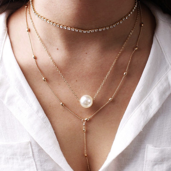 Pearl Simple Charm Long Necklace - Damnbling