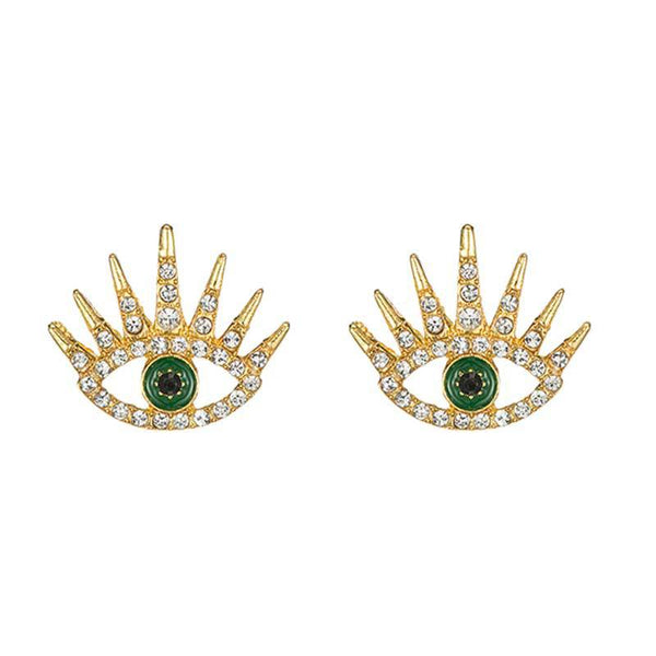 Diamond Spiky Evil Eye Stud Earrings - Damnbling
