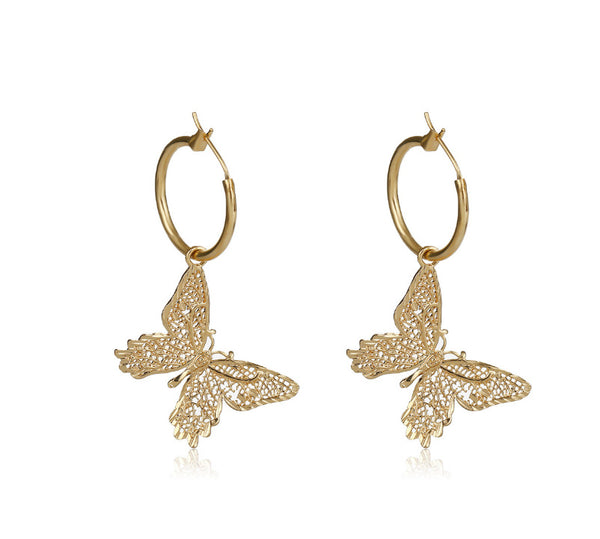 Bling Gold Butterfly Drop Earrings - Damnbling