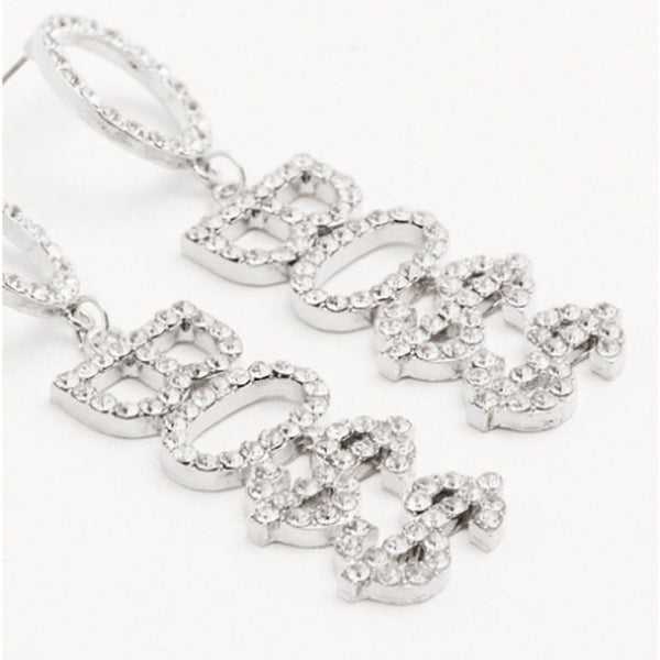SAVAGE Text Diamond Long Drop Earrings - Damnbling