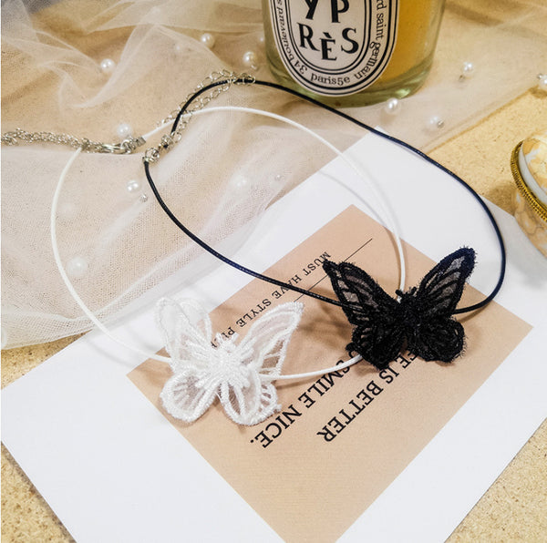 Butterfly Black Lace Light Choker - Damnbling