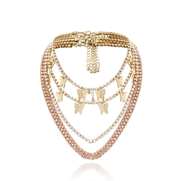 Laser Diamond Butterfly Layering Necklace - Damnbling