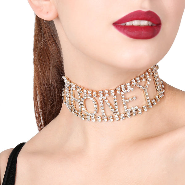 HONEY Text Wide Choker - Damnbling
