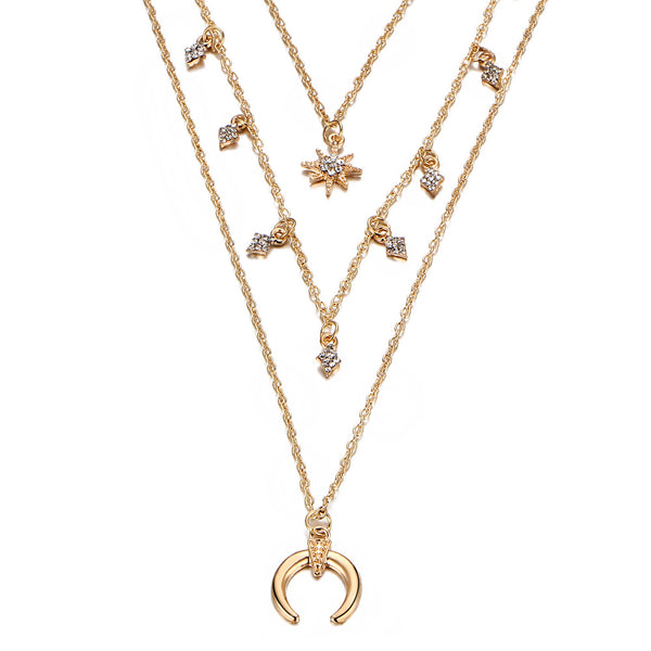 Cresent Star Charm Layering Necklace - Damnbling
