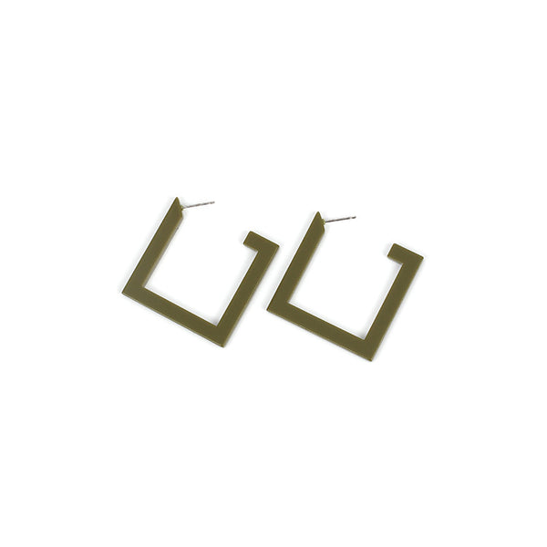 Square Geometric Hoop Earrings - Damnbling