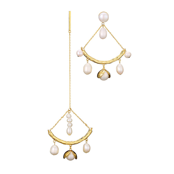 Triangle Pearl Rain Drop Mismatch Earrings - Damnbling