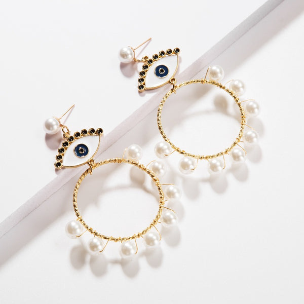 White Evil Eye Pearl Tassel Hoop Earrings - Damnbling