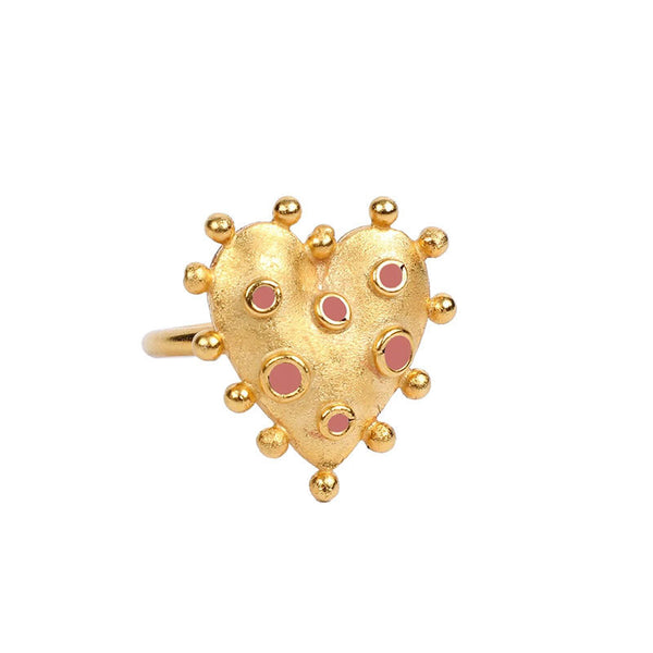 Vintage Spiky Gold Heart Ring - Damnbling