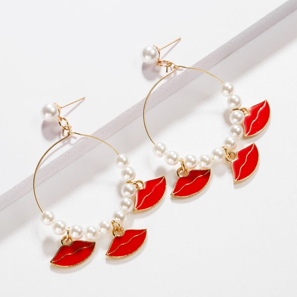 Red Lips Tassel Pearl Hoop Earrings - Damnbling