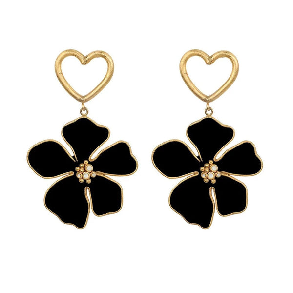 Mini Heart Glossy Fleur Drop Earrings - Damnbling