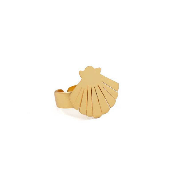 Gold Sea Shell Statement Ring - Damnbling
