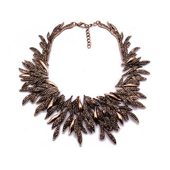 Gold Diamond Leaf Statement Necklace - Damnbling