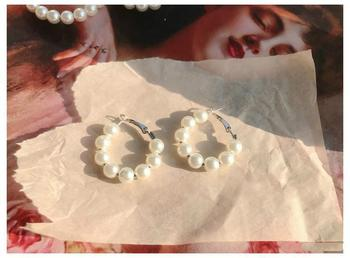 Classic Natural Pearl Hoop Earrings - Damnbling
