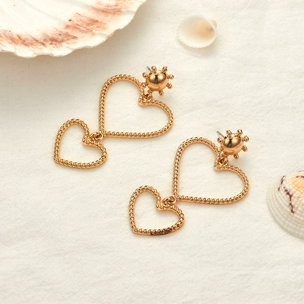Twisted Hollow Heart Drop Earrings - Damnbling