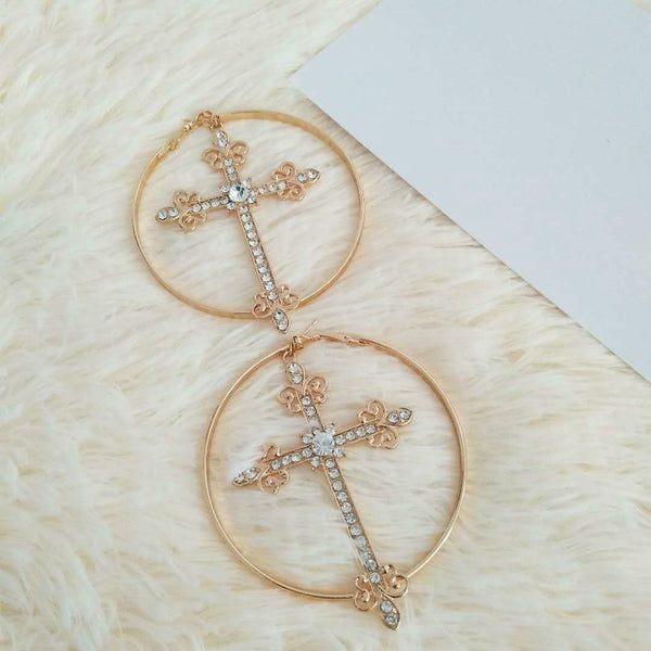 Crazy Cross Diamond Hoop Earrings - Damnbling