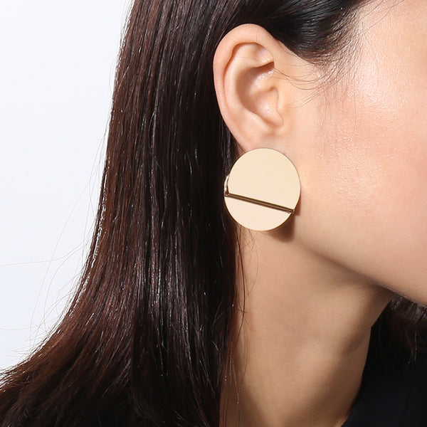 Geometric Round Studs Post Earrings - Damnbling