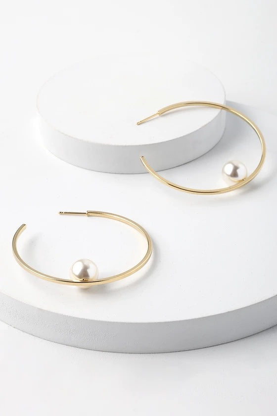 Minimalism Hoop Peal Earrings - Damnbling