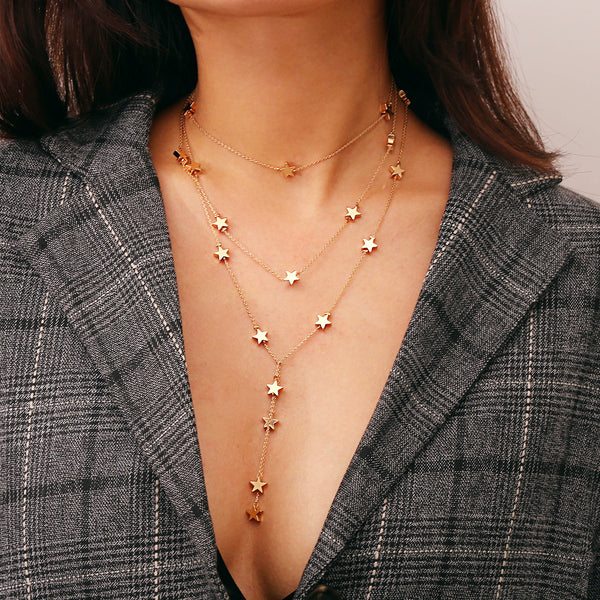 Petite Stars Long Charm Layering Necklace - Damnbling