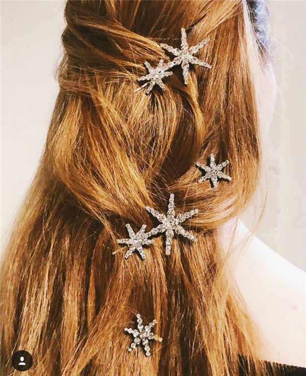 Runway Diamond Star Hair Pin Set - Damnbling