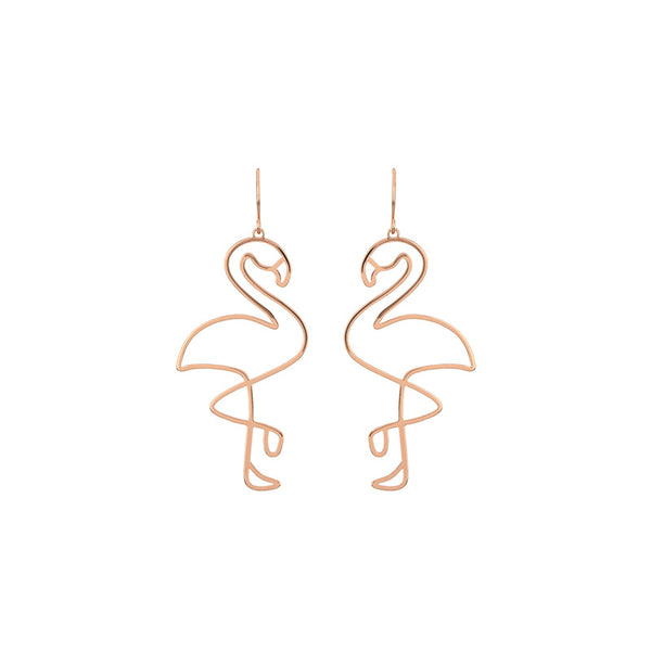 Hollow Flamingo Rose Gold Drop Earrings - Damnbling