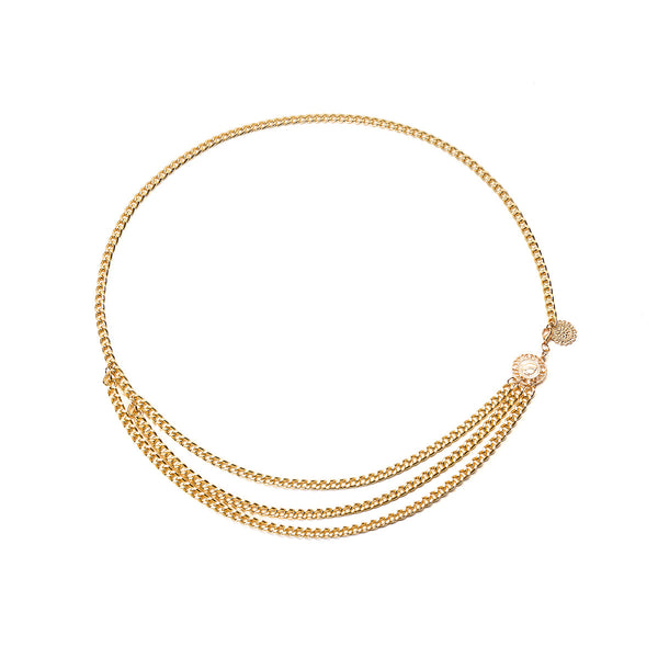 Gold Small Curb Chain Belt - Damnbling