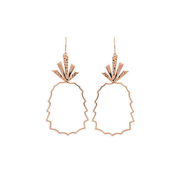 Pineapple Hollow Rose Gold Drop Earrings - Damnbling