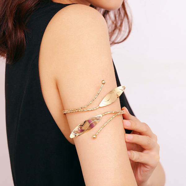 Polished Leaf Upper Arm Cuff - Damnbling