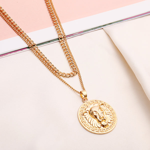 Tiger Coin Pendent Layering Necklace - Damnbling