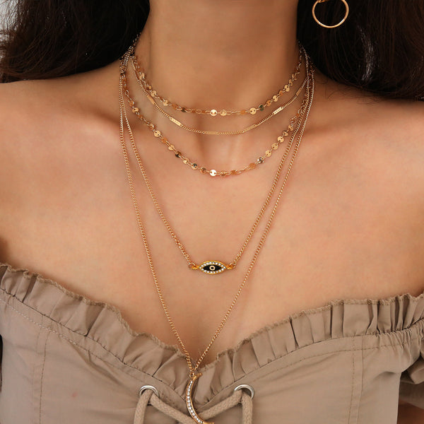 Evil Eye Simple Layering Necklace - Damnbling