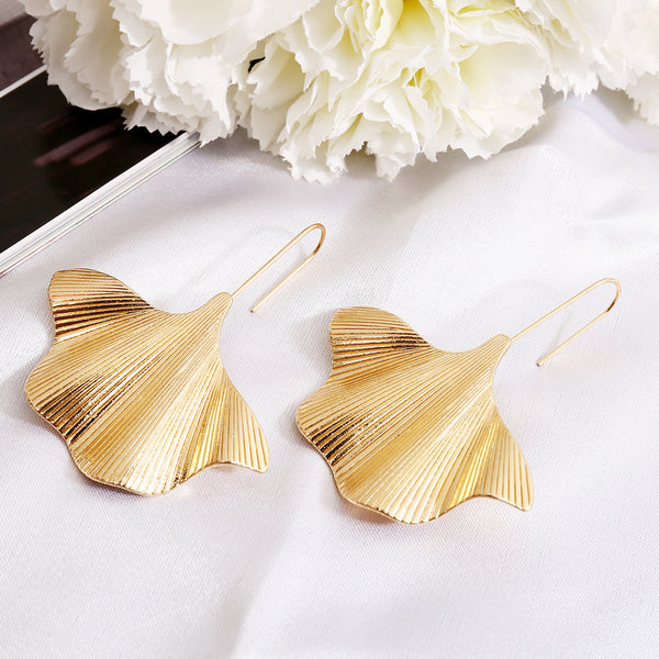 Polished Leaf Drop Earrings - Damnbling