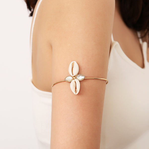 White Sea Shell Upper Arm Cuff - Damnbling