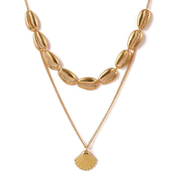 Gold Shell Pendent Layering Necklace - Damnbling