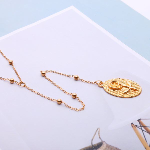 Gold Rose Coin Pendent Long Necklace - Damnbling