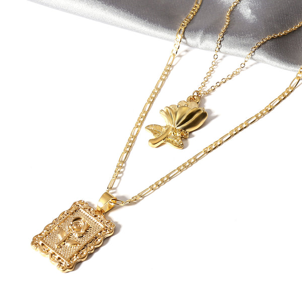 Rose Plate Layering Necklace - Damnbling