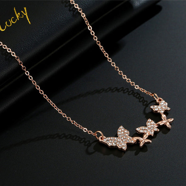 Diamond Butterfly Pendent Necklace - Damnbling