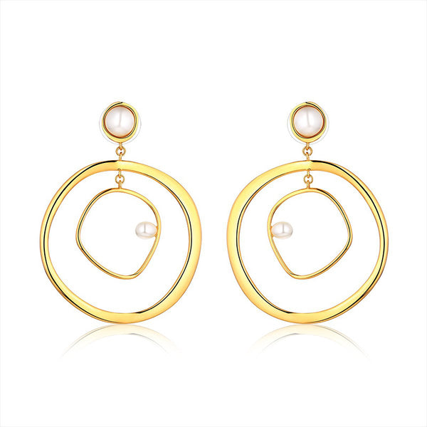 Pearl Gold Double Hoop Earrings - Damnbling