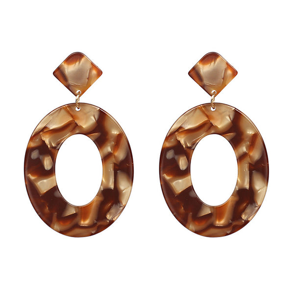 Leopard Marble Oval Drop Earrings - Damnbling
